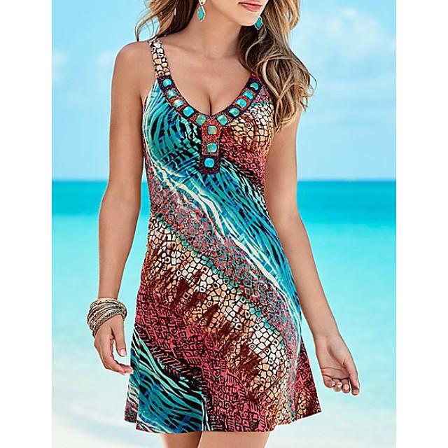 نسائي فستان حمالة فستان ميني أزرق بدون كم لون الصلبة تاي داي طباعة الصيف جفاء كاجوال 2021 S M L XL XXL 3XL 4XL 5XL