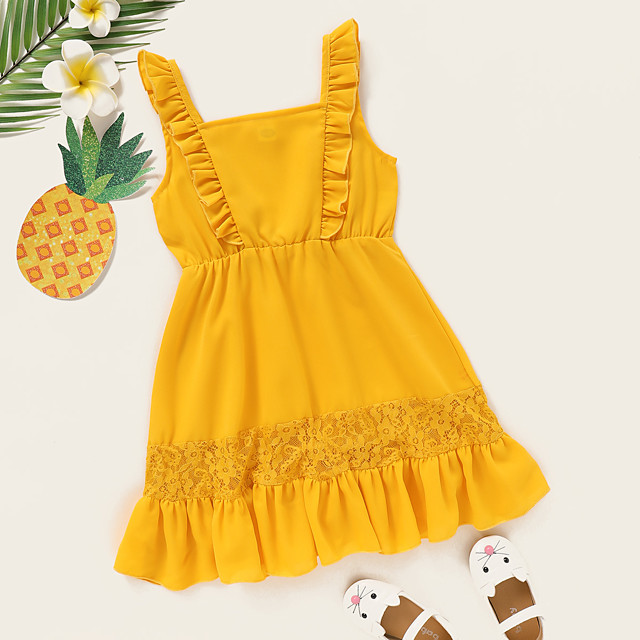 Kids Toddler Little Girls' Dress Polka Dot Graphic Print Yellow Knee-length Sleeveless Active Dresses Summer Regular Fit 2-8 Years