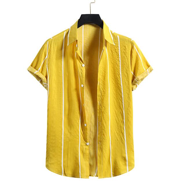 Men's Shirt Other Prints Striped Print Short Sleeve Casual Tops Beach Hawaiian White Yellow