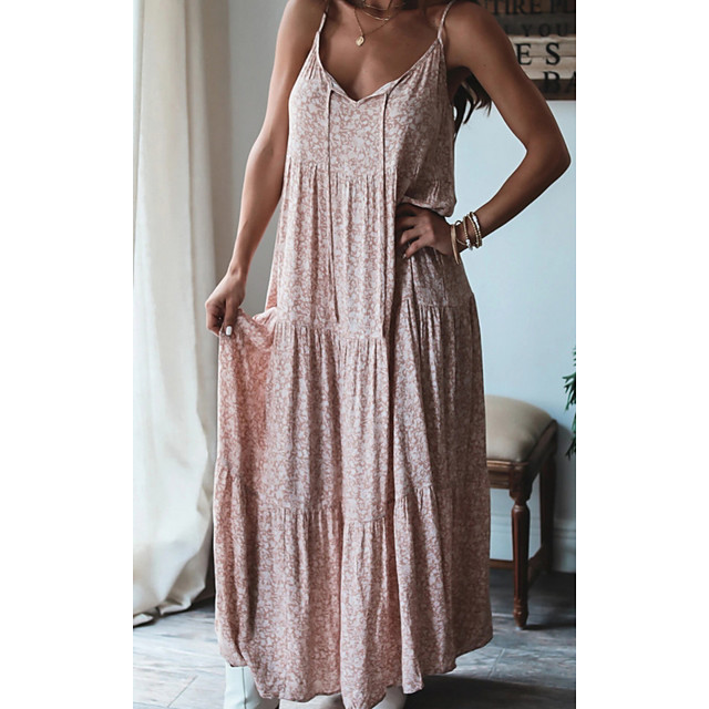 Women's Shift Dress Maxi long Dress Blushing Pink Sleeveless Floral Print Summer V Neck Casual 2021 S M L XL