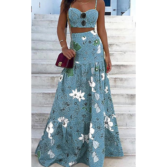 Women's Sheath Dress Maxi long Dress Light Blue Sleeveless Floral Solid Color Embroidered Hollow To Waist Print Spring Summer Casual 2021 S M L XL XXL