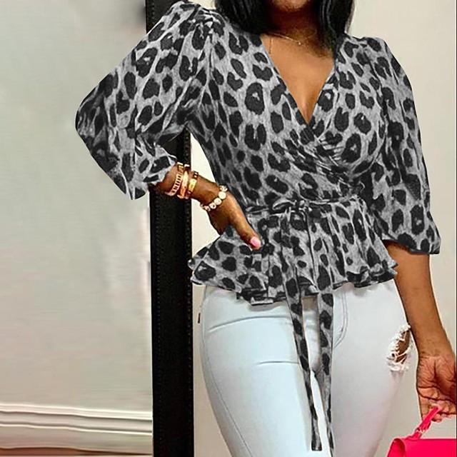 Women's Plus Size Drawstring Print Leopard Blouse Large Size V Neck Half Sleeve Streetwear Tops L XL XXL Yellow Brown Gray Big Size