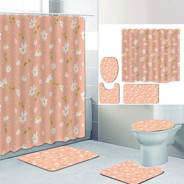 Bathroom Shower Curtain & Mat Set Modern Polyester New Design