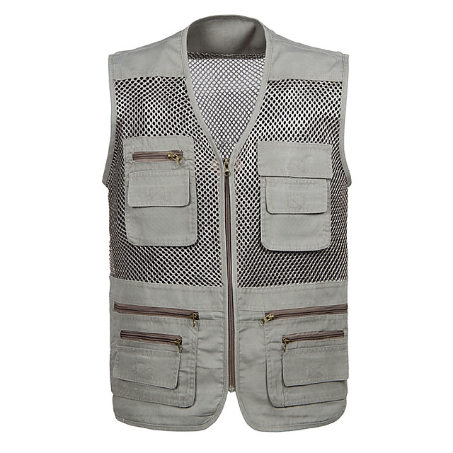 Men's Fishing Vest Outdoor Breathable Mesh Multi-Pockets Quick Dry Lightweight Vest / Gilet Spring Summer Fishing Photography Camping & Hiking Army Green Ivory Gray / Cotton / Sleeveless