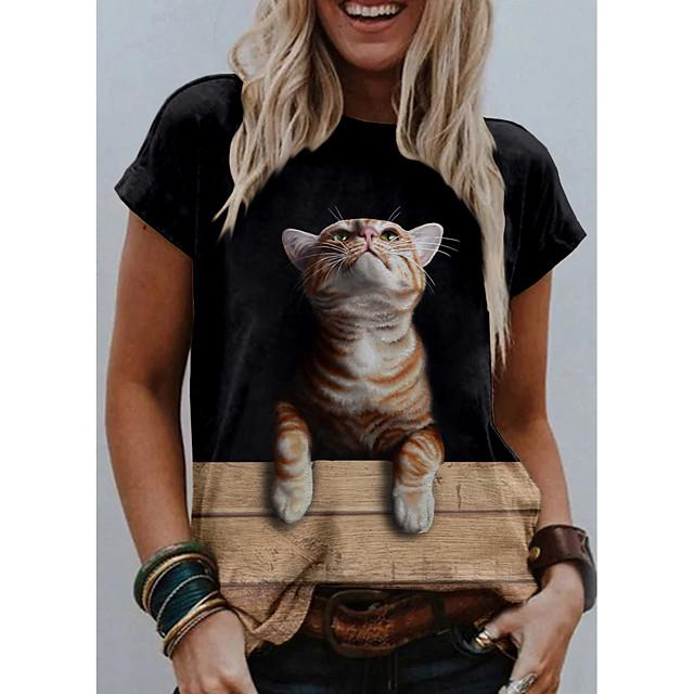 Women's T shirt Cat Graphic 3D Print Round Neck Tops Basic Basic Top White Khaki Gray