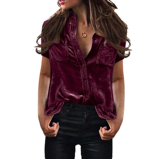 Women's Plus Size Shirt Color Gradient Patchwork Shirt Collar Tops Basic Top Black Blue Purple