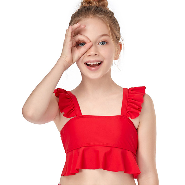 Kids Girls' Tankini Bikini Top One Pieces Swimsuit Ruffle Patchwork Swimwear Solid Colored Sleeveless Red Active Bathing Suits