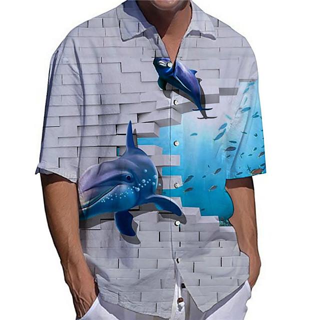 Men's Shirt 3D Print Graphic Prints Shark Animal Button-Down Print Short Sleeve Daily Tops Casual Designer Big and Tall Gray