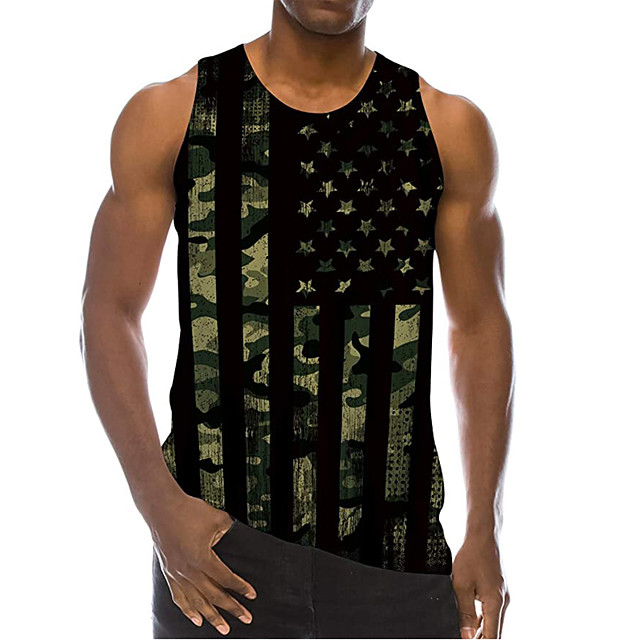 Men's Tank Top Undershirt 3D Print Striped 3D Print Sleeveless Daily Tops Casual Beach Green Gray