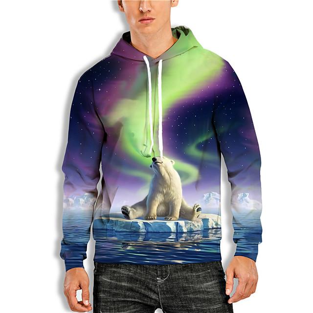 Men's Pullover Hoodie Sweatshirt Graphic Prints Polar Bear Animal Print Daily Holiday 3D Print Basic Casual Hoodies Sweatshirts  Purple