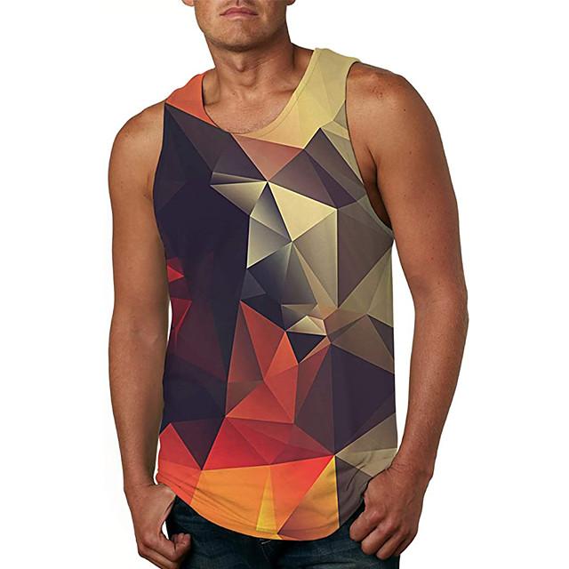 Men's Tank Top Vest Undershirt 3D Print 3D 3D Print Sleeveless Daily Tops Casual Beach Brown