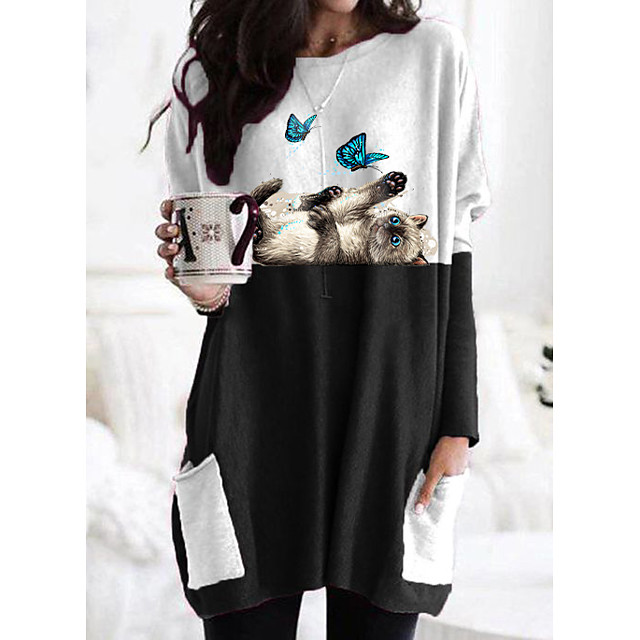 Women's T shirt Dress Cat Graphic Butterfly Long Sleeve Patchwork Print Round Neck Tops Basic Basic Top Black Gray