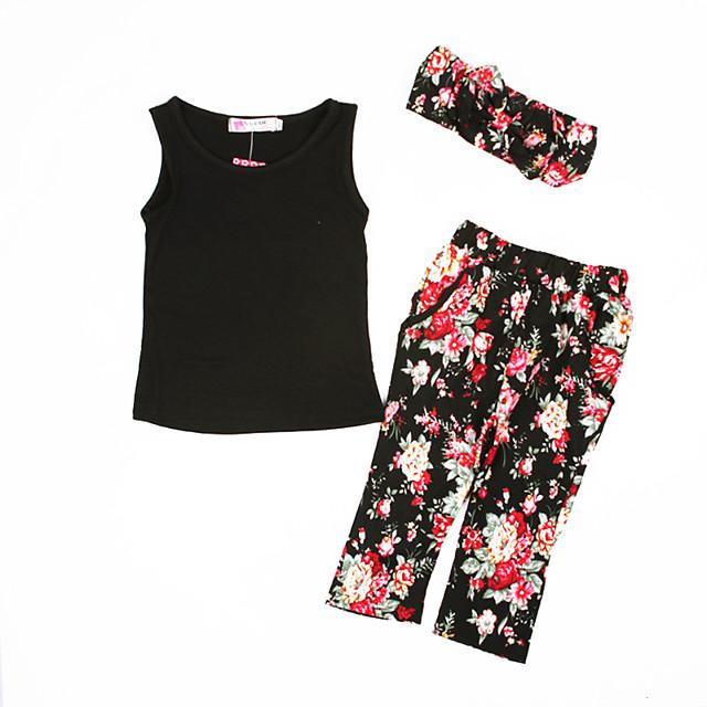 Kids Toddler Girls' Clothing Set Graphic Sleeveless Print Black Active Regular 2-8 Years