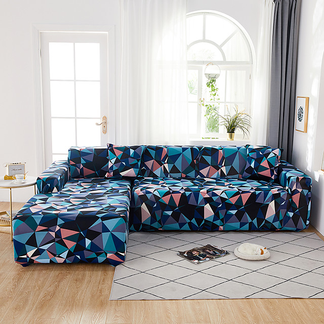 Blue Geometric Triangle Print Dustproof All-powerful Slipcovers Stretch L Shape Sofa Cover Super Soft Fabric Couch Cover with One Free Pillow Case