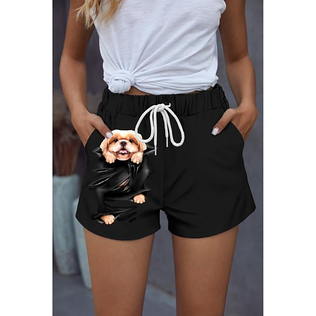 Women's Stylish Novelty Comfort Holiday Weekend Shorts Pants 3D Graphic Prints Animal Short Sporty Elastic Waist Print Black