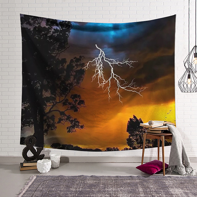 Wall Tapestry Art Decor Blanket Lightning Curtain Hanging Home Bedroom Living Room Decoration and Psychedelic and Floral Theme
