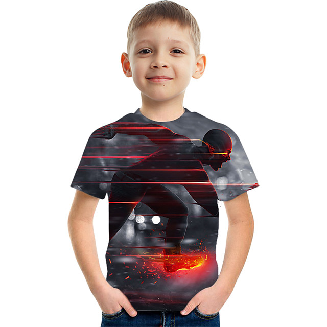 Kids Boys' Tee Short Sleeve Graphic Children Tops Active Black 3-12 Years