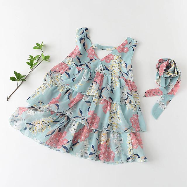 Kids Little Girls' Dress Floral Graphic Ruffle Print Green Sleeveless Basic Cute Dresses Regular Fit