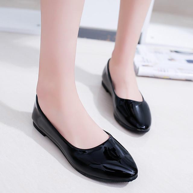 Women's Loafers & Slip-Ons Wedge Heel Round Toe PU White Black Purple