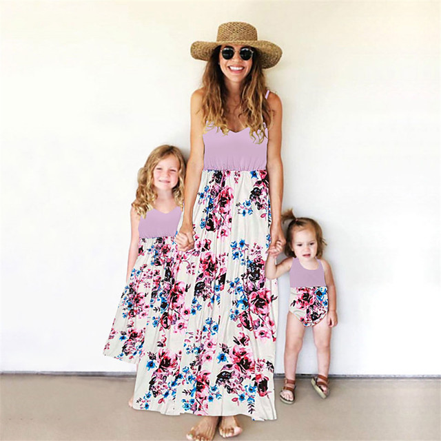 Mommy and Me Family Matching Outfits Dress Graphic Sleeveless Print Blushing Pink Maxi Summer
