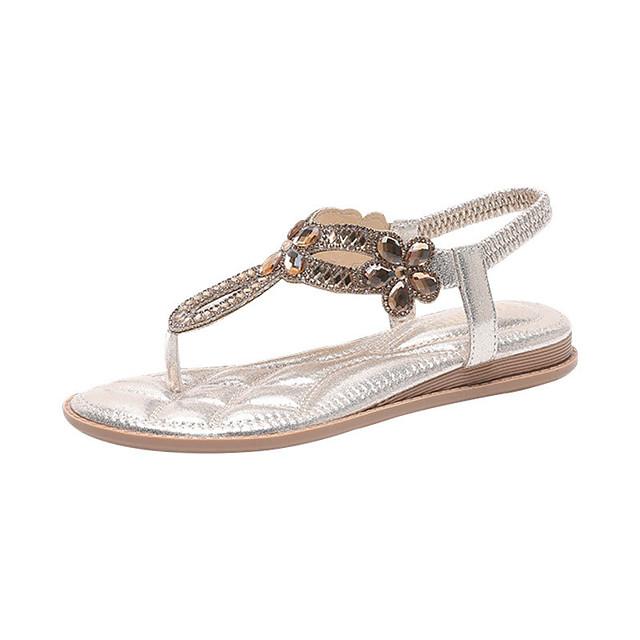 Women's Sandals Boho Bohemia Beach Flat Heel Pointed Toe Wedge Sandals Casual Daily Walking Shoes PU Rhinestone Solid Colored White Black Light Gold