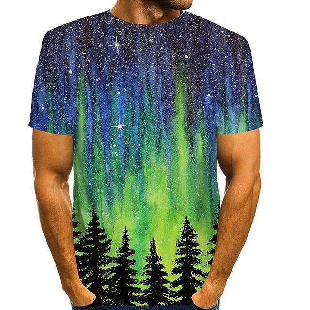Men's T shirt 3D Print Graphic Prints Landscape 3D Print Short Sleeve Daily Tops Basic Casual Green
