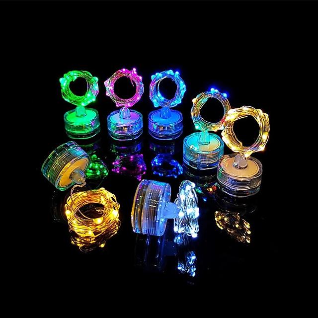 luce esterna della stringa principale ip68 2m 20led candela sommergibile lampada a led luce della stringa del filo di rame subacquea per vaso bottiglia serbatoio di pesce acquario luce attività