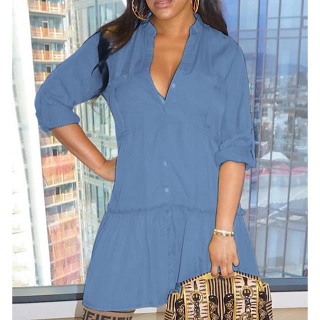 نسائي فساتين الدنيم فستان طول الركبة أزرق فاتح أزرق البحرية نصف كم لون الصلبة بقع الصيف قبعة القميص كاجوال 2021 S M L XL XXL