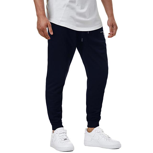 Men's Casual / Sporty Sweatpants Outdoor Sports Daily Sports Pants Pants Graphic Full Length Drawstring Pocket Print Black Light Grey Dark Gray Navy Blue