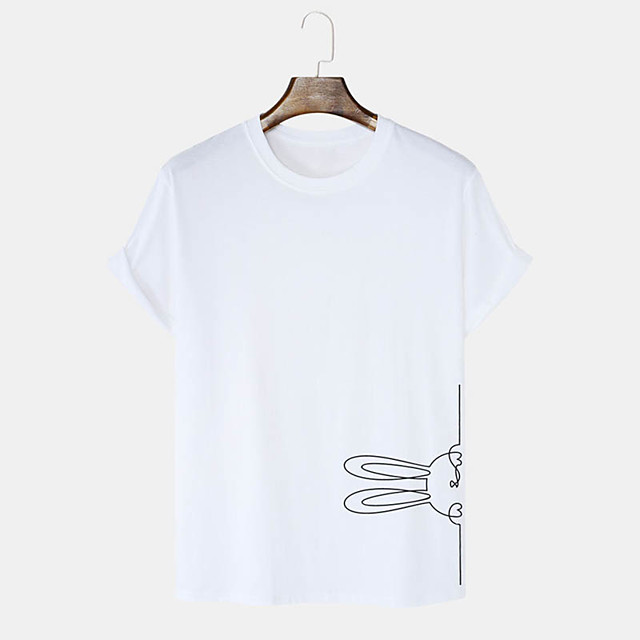 Men's Unisex T shirt Hot Stamping Graphic Prints Rabbit / Bunny Happy Easter Plus Size Print Short Sleeve Daily Tops 100% Cotton Basic Casual White Black Blushing Pink