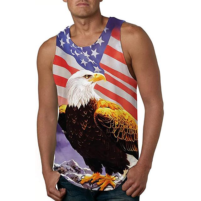 رجالي كنزة سترة قميص داخلي مطبوعات أخرى إيجال طباعة ثلاثية الأبعاد بدون كم مناسب للبس اليومي قمم كاجوال نمط الشاطئ التقزح اللوني