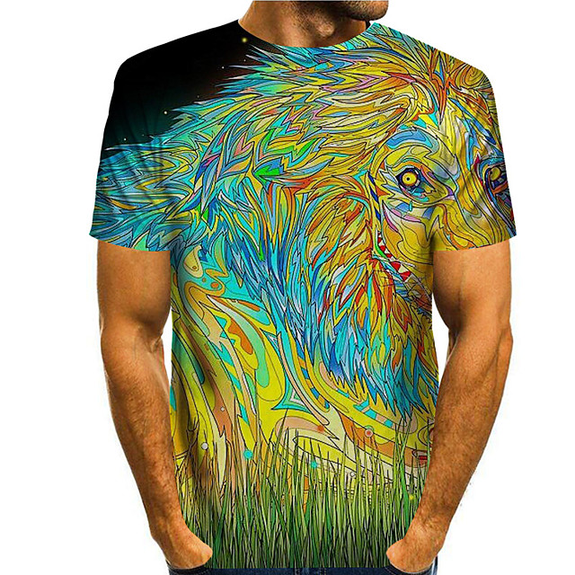 Men's T shirt 3D Print Graphic Prints Animal 3D Print Short Sleeve Daily Tops Basic Casual Rainbow