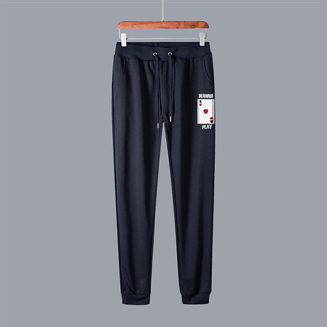 Men's Casual / Sporty Sweatpants Outdoor Sports Daily Sports Pants Pants Graphic Full Length Drawstring Pocket Print Black Light gray Dark Gray Navy Blue