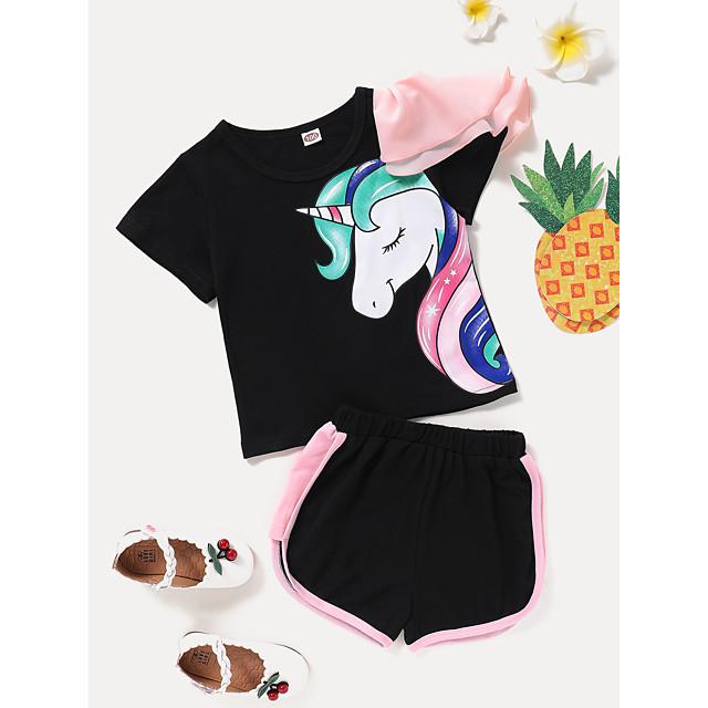 Kids Toddler Girls' Clothing Set Daily Wear Cartoon Print Short Sleeve Active Regular Above Knee Black 2-8 Years