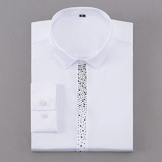 Men's Shirt Polka Dot Button-Down Long Sleeve Casual Tops Business Simple White Blue