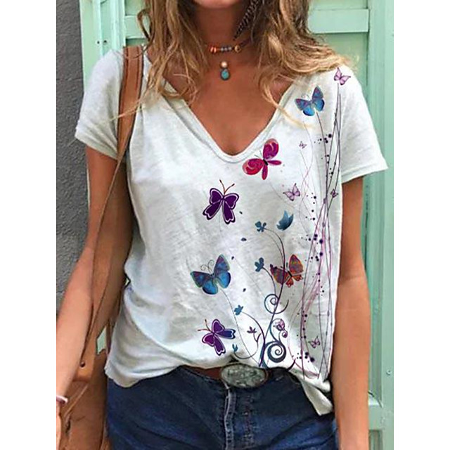 Women's T shirt Butterfly V Neck Tops Basic Basic Top White Blue Purple