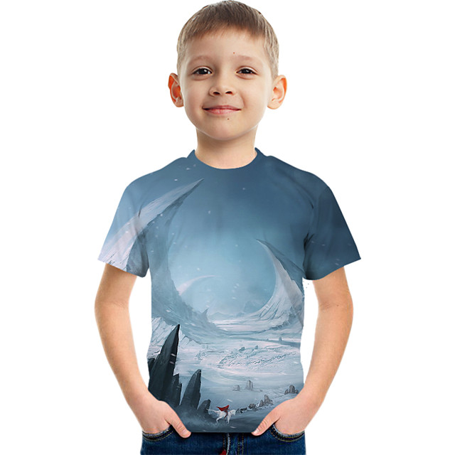 Kids Boys' Tee Short Sleeve Graphic Children Tops Active Blue 3-12 Years
