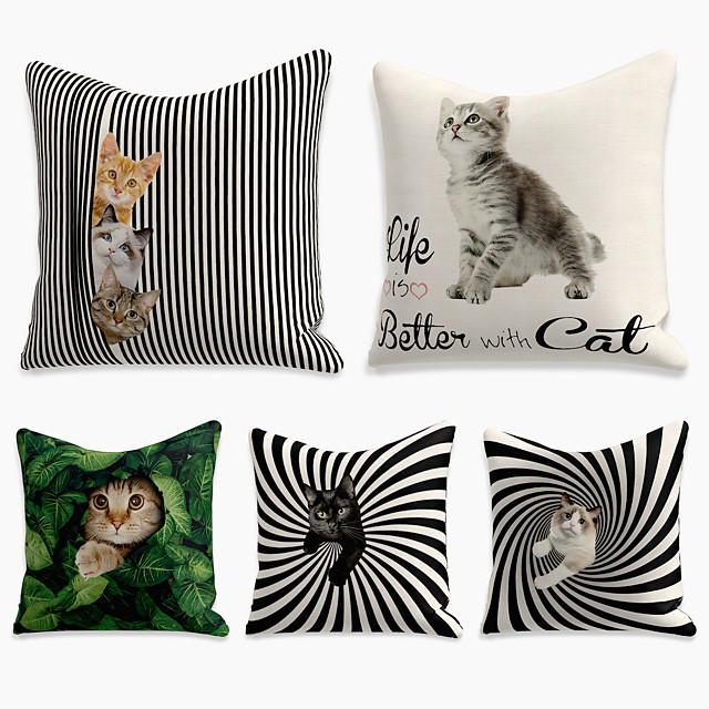 Cushion Cover 5PCS Linen Soft Print Square Throw Pillow Cover Cushion Case Pillowcase for Sofa Bedroom 40*40/45*45/50*50cm Superior Quality Mashine Washable