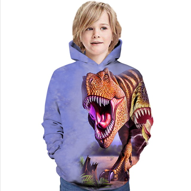 Kids Boys' Hoodie & Sweatshirt Long Sleeve Dinosaur Animal Print Children All Seasons Tops Active Regular Fit Purple 4-12 Years