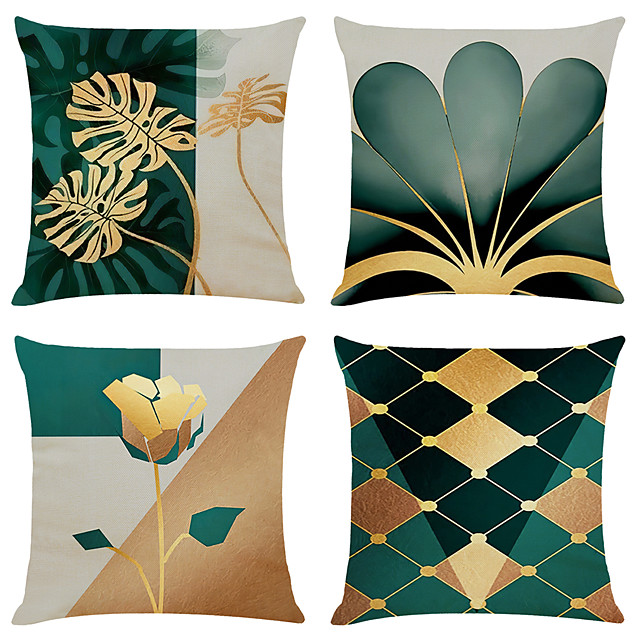 Cushion Cover 4PCS Linen Soft Geometric Simple Classic Square Throw Pillow Cover Cushion Case Pillowcase for Sofa Bedroom 45 x 45cm (18 x 72 Inch)Superior Quality Machine Washable