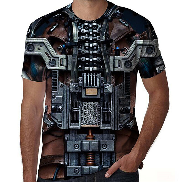 T shirt Men's Graphic Prints 3D Print Print Daily Short Sleeve Tops Casual Designer Big and Tall Black