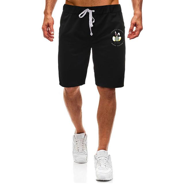 Men's Shorts Casual / Sporty Daily Sports Easter Sweatpants Shorts Pants Rabbit / Bunny Short Zipper Pocket Print Black Light Grey