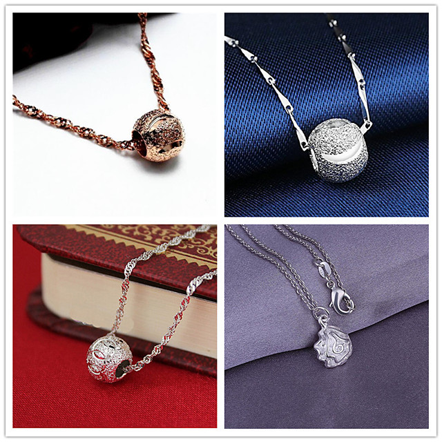 Women's Pendant Necklace Charm Necklace Classic Flower Ball Fashion Zircon Copper Silver Plated 45 cm Necklace Jewelry 1pc For Christmas Wedding Party Evening Street Formal / Gold Plated