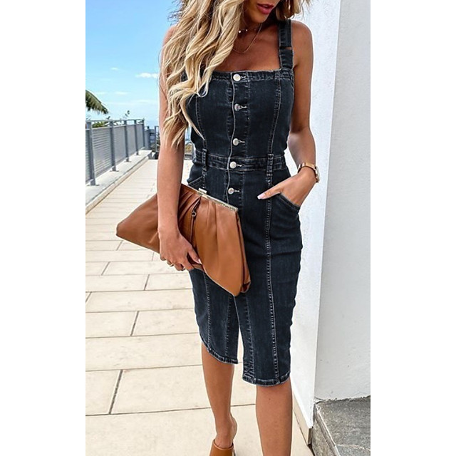 Women's Denim Dress Knee Length Dress Navy Blue Light Blue Sleeveless Solid Color Pocket Summer Round Neck Casual 2021 S M L XL XXL 3XL