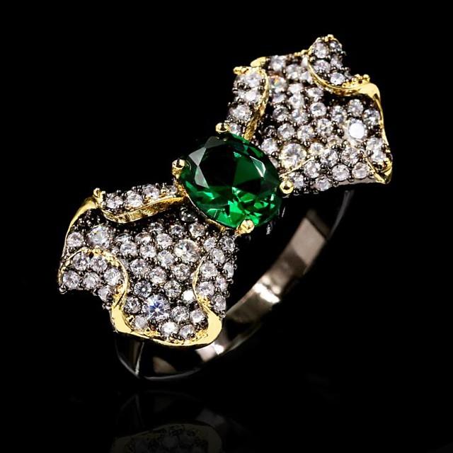Ring AAA Cubic Zirconia Geometrical Black Brass Flower Bowknot Natural Fashion Sweet 1pc 6 7 8 9 10 / Women's