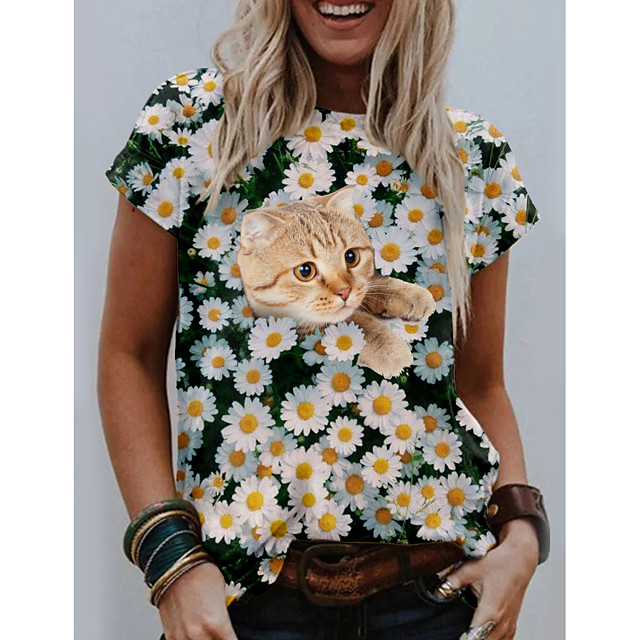 Women's T shirt Cat Graphic Floral Print Round Neck Tops Basic Basic Top White