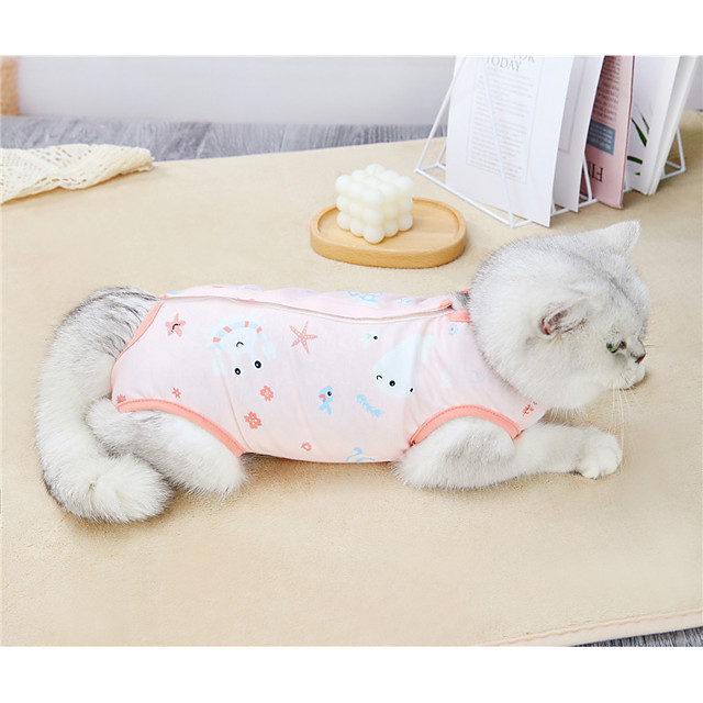 Dog Cat Shirt / T-Shirt Surgery Recovery Suit Cartoon Elegant Adorable Cute Dailywear Casual / Daily Dog Clothes Puppy Clothes Dog Outfits Breathable Yellow Pink Green Costume for Girl and Boy Dog