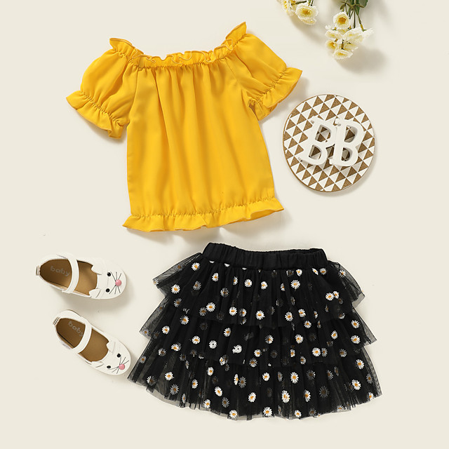 Kids Toddler Girls' Clothing Set Daily Wear Polka Dot Print Short Sleeve Active Regular Above Knee Yellow 2-8 Years