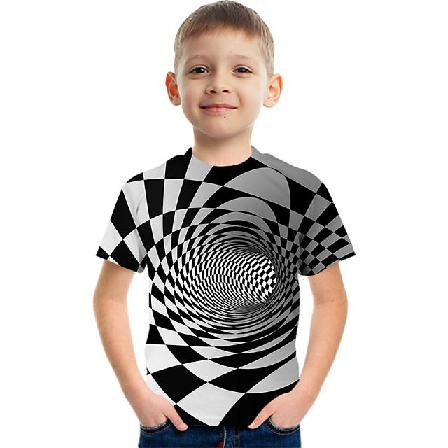 Kids Boys' Tee Short Sleeve Graphic 3D Children Tops Active White