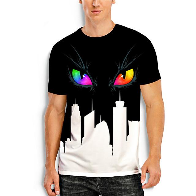 T shirt Men's Graphic Prints Eye 3D Print Print Daily Short Sleeve Tops Casual Designer Big and Tall Black / White